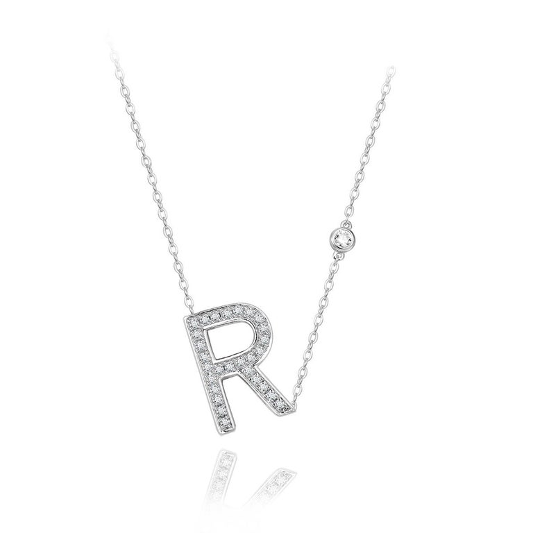Modern R Initial Bezel Chain Necklace For Sale