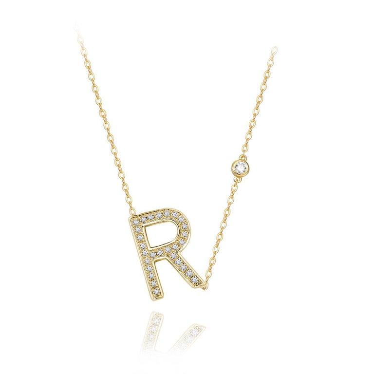 Trillion Cut R Initial Bezel Chain Necklace For Sale