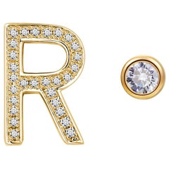 R Initial Bezel Mismatched Earrings