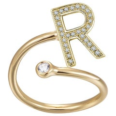 R-Initial Bezel Wire Ring