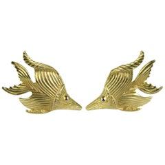 R J GRAZIANO Earrings Angelfish New, Never Worn - 1980s