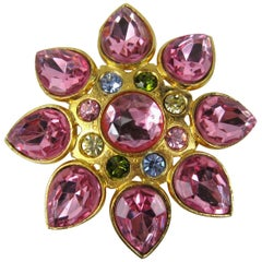 R J GRAZIANO Pink FLORAL Brooch Pin New, Never Worn 1980s