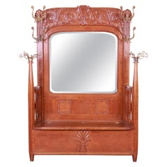 R. J. Horner Carved Solid Oak Hall Bench with Mirror, circa 1890