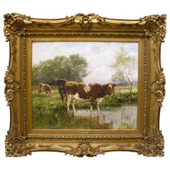 "R. L. Johnston, ""At The Watering Hole"" Oil on Canvas of Cows in a Landscape"