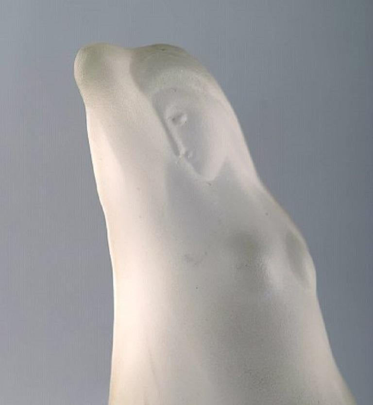 Art Glass R. Lalique, France. Art Deco sculpture of naked woman in art glass For Sale