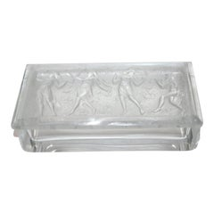 R. Lalique Style Frosted Glass Box with Piper and Dancers