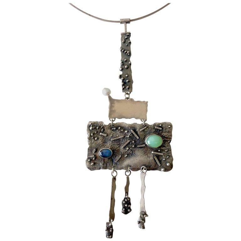 Women's R. Nye Opal Jade Pearl California Modernist Studio Sterling Silver Necklace For Sale