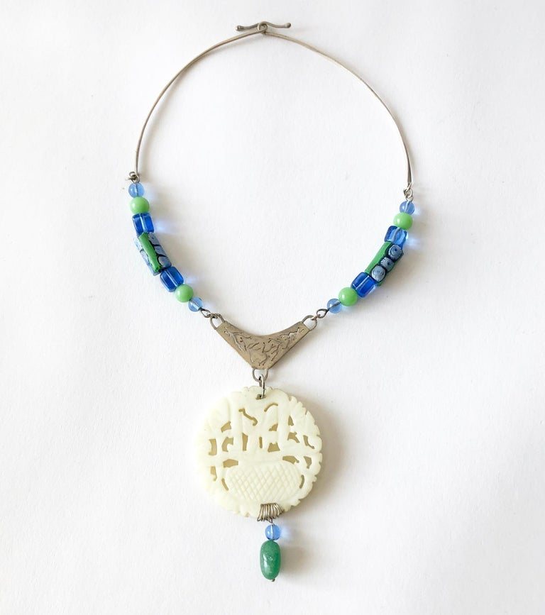 Artisan R. Nye Sterling Silver Glass Asian Modernist Style Studio Necklace For Sale