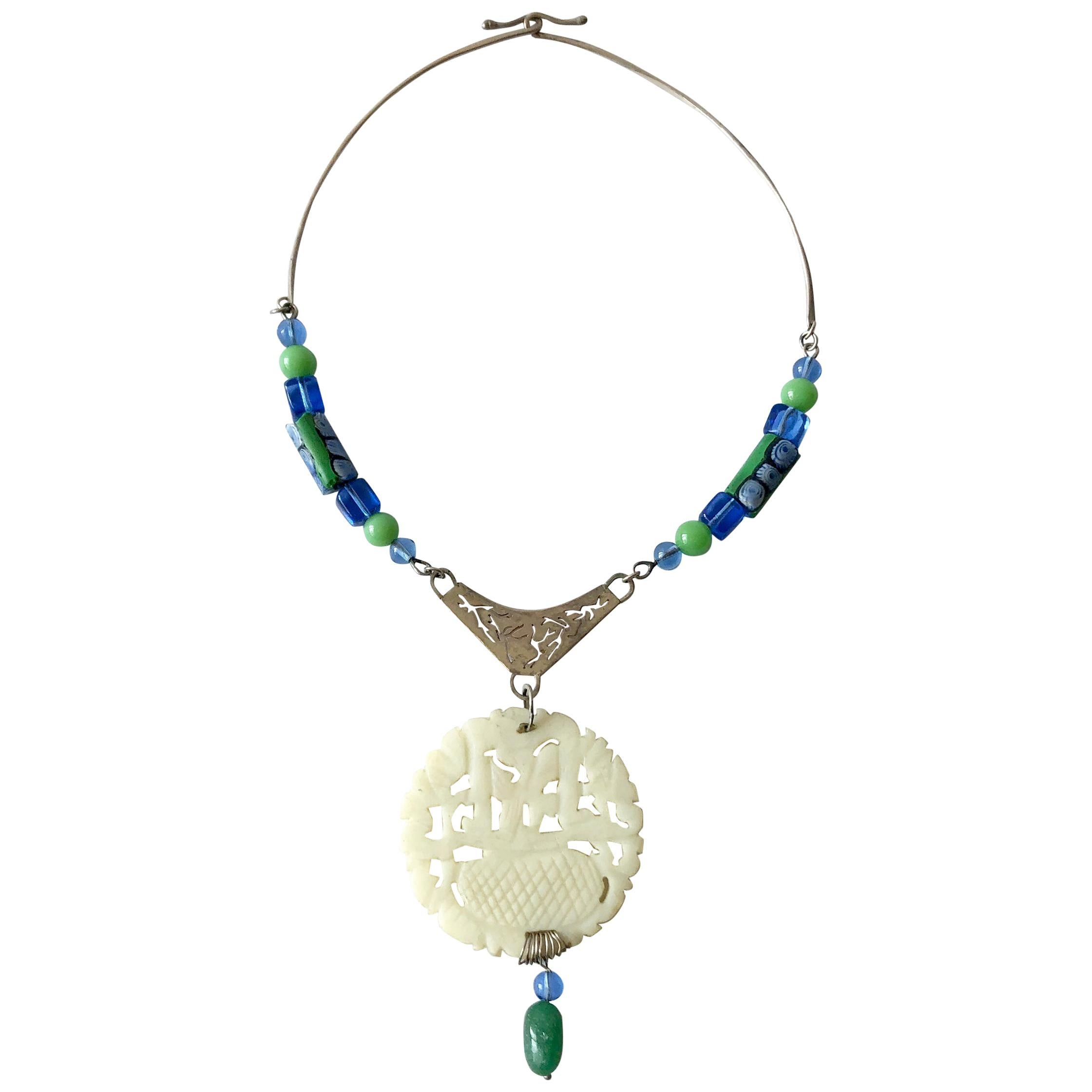 R. Nye Sterling Silver Glass Asian Modernist Style Studio Necklace