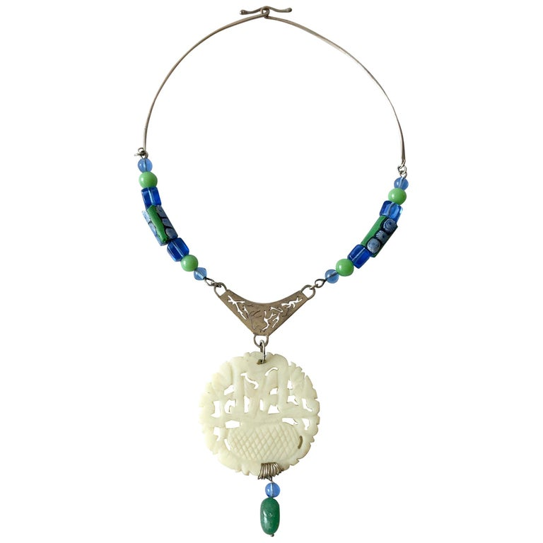 R. Nye Sterling Silver Glass Asian Modernist Style Studio Necklace For Sale