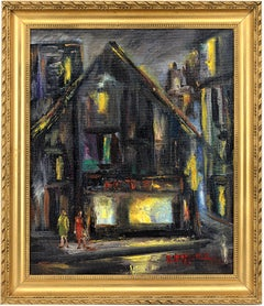 R. QUEYRIE, Walking the Streets, Oil on Hardboard, 1950s