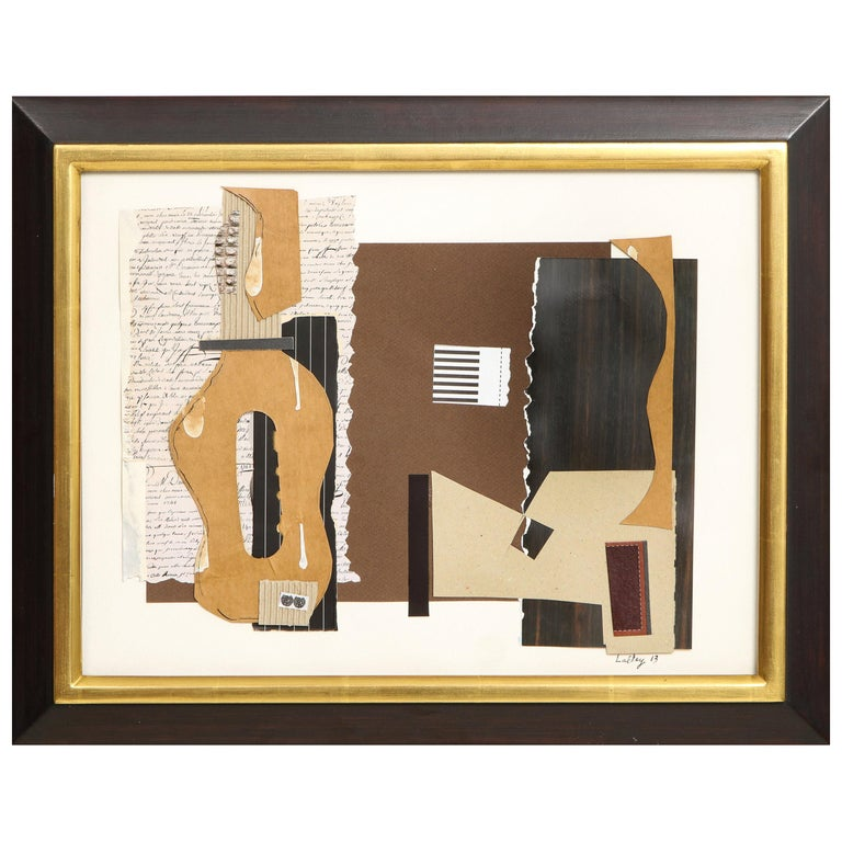 """R. Scott Lalley """"Guitarra Madrid"""" 2014 Paper Collage on Paper For Sale"""