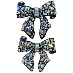 R. Serbin 1980's Pair of Runway Large Crystal A.B. Bow Pin's