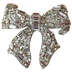 R. Serbin Giant Crystal Bow Brooch Pin 1985