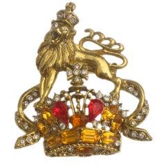 R. Serbin Large Vintage 1980's Lion Crown Crest Pin