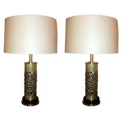 R. Stanton Table Lamps Pair Mid-Century Modern Sculptural Brass, 1974