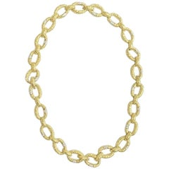 R. Stone Gold Diamond Large Link Necklace