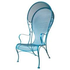 R. Woodard Newly Enameled Lagoon Blue Wrought Iron Patio /Garden Canopy Armchair