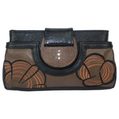 R & Y Augousti Embroidered Leather Clutch With Shagreen Closure