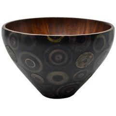 R & Y Augousti French Modern Marquetry & Shagreen Bowl