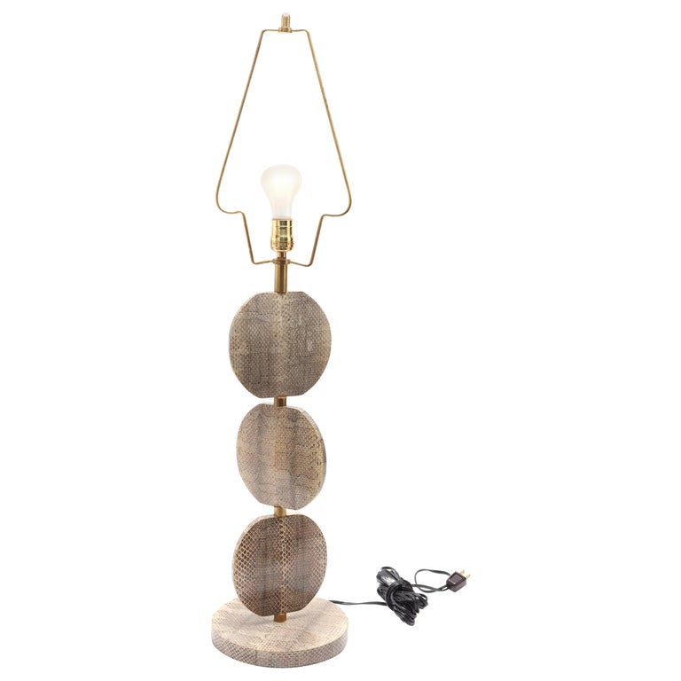 R & Y Augousti French Modern Snakeskin Table Lamp For Sale