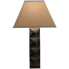 R & Y Augousti Paris Faceted Cut Shagreen, Marble and Bronze Table Lamp