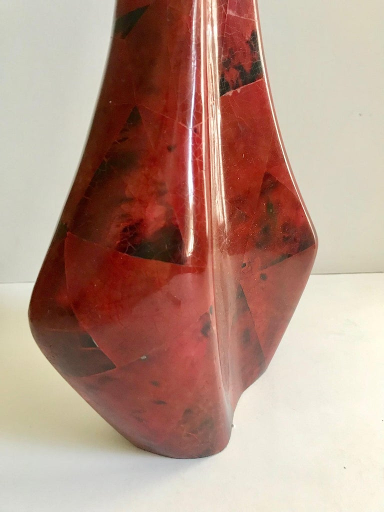 Contemporary R & Y Augousti Sculptural Large Vase in Mosaic Pen-Shell For Sale
