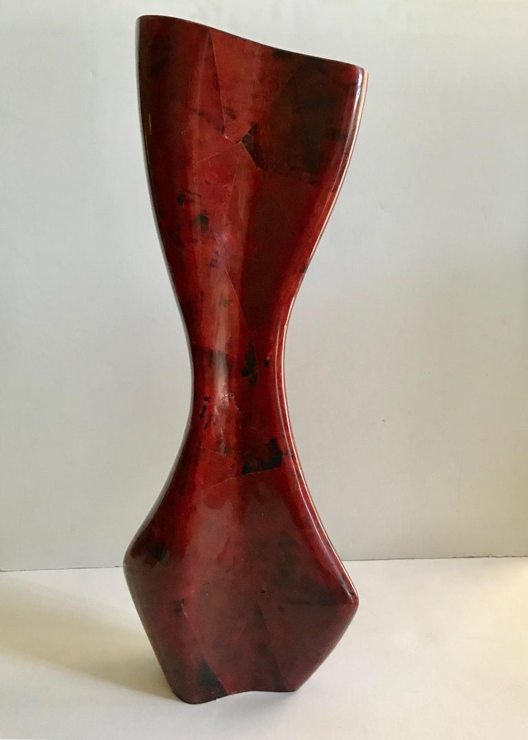 R & Y Augousti Sculptural Large Vase in Mosaic Pen-Shell For Sale 1
