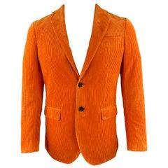R13 Chest Size 38 Regular Orange Corduroy Notch Lapel Sport Coat