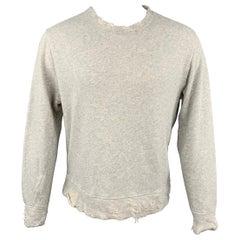 R13 F/W 18 Size L Light Gray Heather Distressed Cotton Crew-Neck Sweatshirt