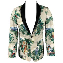 R13 Ivory Print Silk / Cotton Studded Shawl Collar Sport Coat