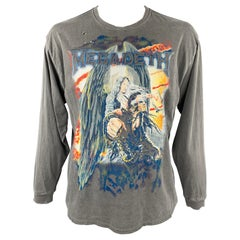 R13 MEGADETH Size S Grey Graphic Cotton Long Sleeve T-shirt