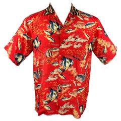 R13 S 19 Size XS Red Fish Print Viscose Hawaiian Shirt
