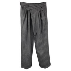 R13 Size 26 Charcoal Pinstripe Wool Triple Pleat Dress Pants