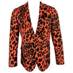 R13 Size 38 Orange & Black Leopard Print Cotton Velvet Notch Lapel Sport Coat