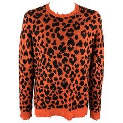R13 Size L Orange & Black Leopard Print Cashmere Distressed Pullover Sweater