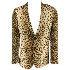 R13 Size L Tan Animal Print Viscose Notch Lapel Sport Coat