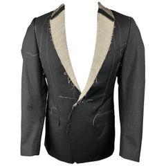 R13 Size M Charcoal Pinstripe Wool Shawl Collar Sport Coat