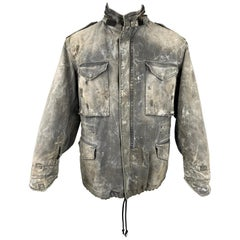 R13 Size M Gray Distressed Cotton Destroyed Military Hooded Jacket