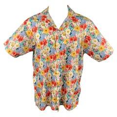 R13 Size M Multi-Color Floral Cotton Button Up Short Sleeve Skater Shirt