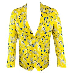 R13 Size S Floral Yellow & Blue Cotton Notch Lapel Sport Coat