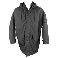 R13 Size XS Black Cotton / Nylon Zip & Snaps Oversized Hooded Coat