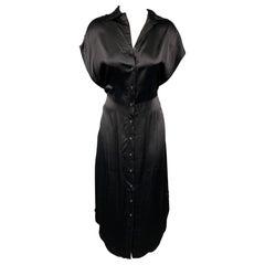R13 Size XS Black Satin Silk Dropped Sleeves Shirt Dress
