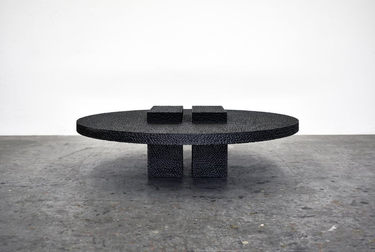 R3 table Carved, blackened, lacquered and maple Measures: 13