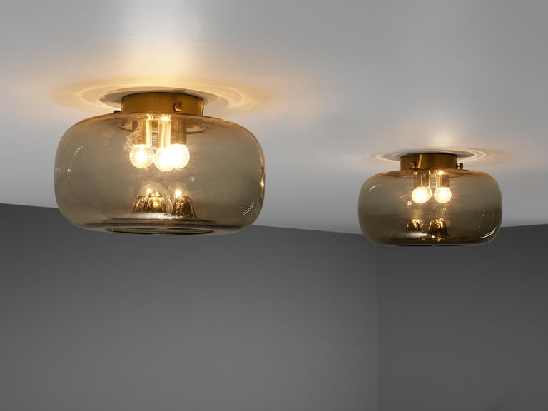 Mid-Century Modern RAAK Amsterdam Four Ceiling Lights in Smoked Glass and Brass For Sale