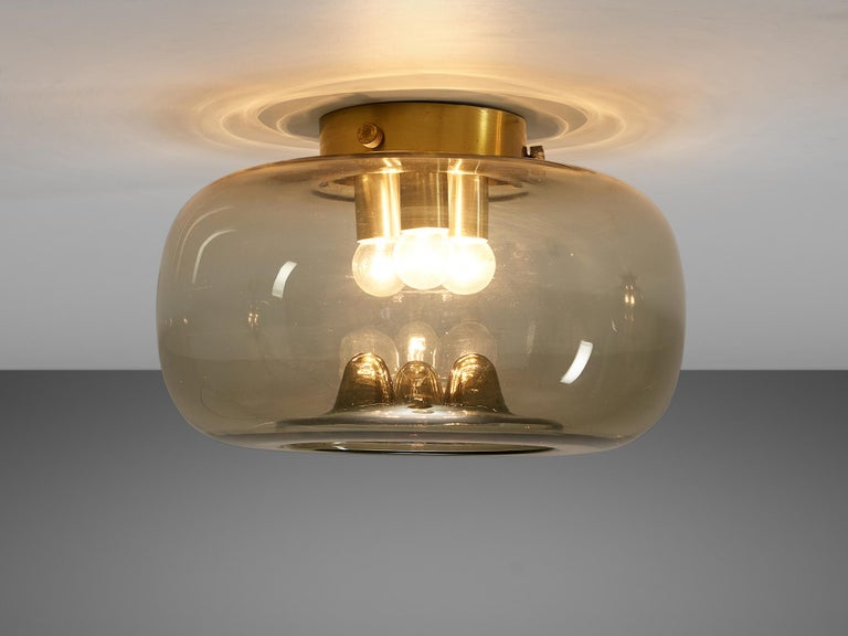 Dutch RAAK Amsterdam Four Ceiling Lights in Smoked Glass and Brass For Sale