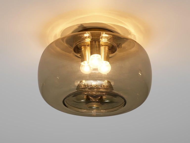 RAAK Amsterdam Four Ceiling Lights in Smoked Glass and Brass In Good Condition For Sale In Waalwijk, NL