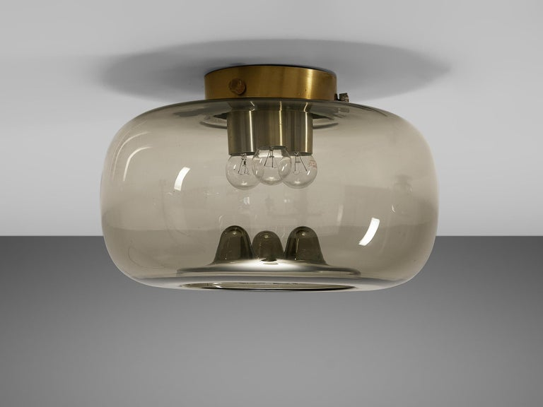 Late 20th Century RAAK Amsterdam Four Ceiling Lights in Smoked Glass and Brass For Sale