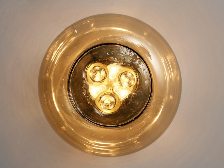 RAAK Amsterdam Four Ceiling Lights in Smoked Glass and Brass For Sale 1