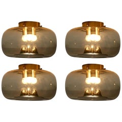 RAAK Amsterdam Four Ceiling Lights in Smoked Glass and Brass
